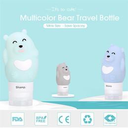 2019 disegno di bottiglia liquido L'orsacchiotto liquido sveglio di viaggio dei cosmetici delle bottiglie del gel di silice 80ML di progettazione dell'orso piccolo sigilla l'imbottigliamento variopinto disegno di bottiglia liquido economici