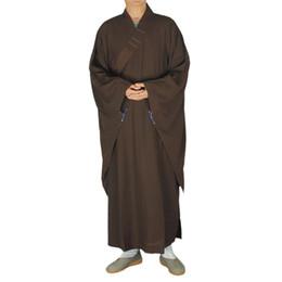História de Xangai Taiwan Doris linho Shaolin Templo Zen Budista Robe Lay Monge Vestido de Meditação Vestido de Treinamento Kung fu Uniforme de Fornecedores de macacão de super-heróis