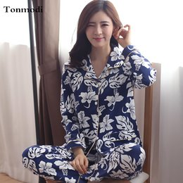 Wholesale Womens Cotton Pajamas Sets - Womens Pajamas Cardigan Clothing Autumn Long-sleeve Cotton Pyjamas Trousers Women Sleep Pajama Sets Plus Size 4XL