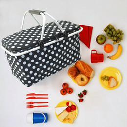 Wholesale Bbq Sizes - Large family size picnic basket insulated collaspsib lbag BBQ meat drinks cooler bag folding picnic tote for holidays parties outdoor