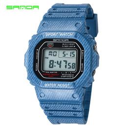 Wholesale gold pins electronic - SANDA Fashion Men's Sports Watches Luxury Casual Women Digital LED Electronic Wristwatch Military Waterproof Clock Reloj Hombre