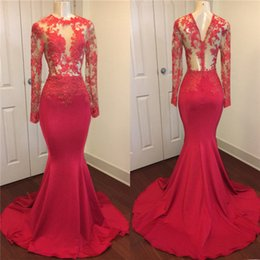 long silk empire prom dress Promo Codes - 2020 See Through Lace Mermaid Evening Dresses Sheer Long Sleeves Lace Appliqued Prom Gowns Vintage Special Occasion Pageant Gowns