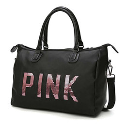 Wholesale Folding Clothes For Travel - Sport Bags For Women Luxury Handbags Pink Letter Black Large Capacity Travel Duffle Waterproof Beach Bag on Shoulder for Outdoor Business