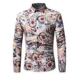 2019 blusa flor vintage Flores Imprimir Camisa Dos Homens Do Vintage Cáqui Floral Impresso Blusa Moda Jantar Manga Comprida Tops Camisa Retro Estilo Chinês Menino Magro blusa flor vintage barato