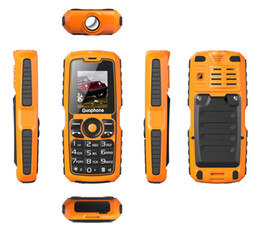 Wholesale Tri Proof Phones - 2018 New Guophone V3S Real WaterProof Tri-proof Power Bank Phone Shockproof Strong Flashlight Dual SIM dual standby 1.8 inch Cheap Phone