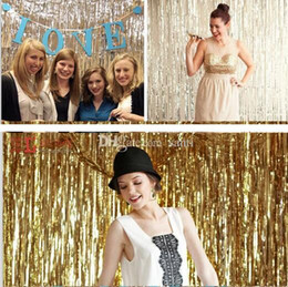 Wholesale Indoor Photography Backdrops - Hot 1x2 Meters Gold Foil Fringe Tinsel Curtain Tassel Garlands Wedding Photography Backdrop Birthday Party Decoration