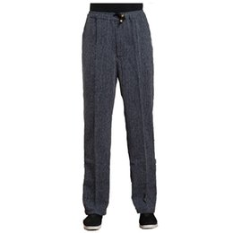 Wholesale Tai Chi Cotton Pants - Dark Gray Spring Sutumn Men's Long Kung Fu Pant Cotton Linen Wu Shu Tai Chi Elastic Waist Trousers M L XL XXL XXXL WNS031812