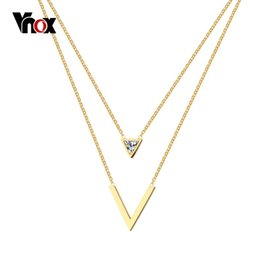 Wholesale v shape gold necklace - whole saleVnox Double V Shape Choker Necklace for Women Gold color Stainless Steel Chain Not Fade High Quality