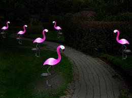 2019 luci solari super luminose del paesaggio Solar Powered Pink Flamingo Lawn Lampada da giardino Decor Solar Lights Impermeabile Led Light per Outdoor Prato Patio Piazza Pianta in vaso LLFA