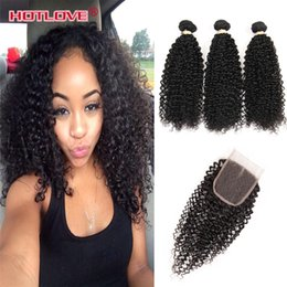 Malaysian Kinky Curly Hair With Closure 3 Bundles 8A Malaysian Kinky Curly Virgin Hair With Closure 100% Human Hair With Closure 4Pcs Lot Coupon