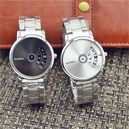 Relógio quartzo feminino on-line-Womage tira turntable dial relógio de quartzo das mulheres dos homens relogio masculino requintado relógios de pulso de aço home decor moda 12 hm bb