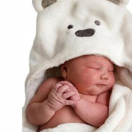 Wholesale Babies Bath Towels - Cartoon Cute animal Hooded Towel Lovely Soft Coral Fleece Baby blanket Towel Baby Bath Towels 95*75cm