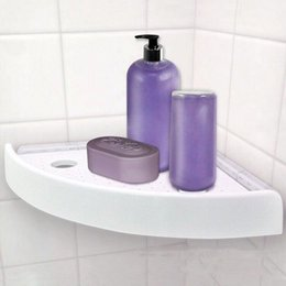 Wholesale Modern Mark - Snap Up Corner Shelf Triangle Bathroom Wall Corner Mount Storage Holder Rack Non-marking Shelf With Hooks Easy To Install