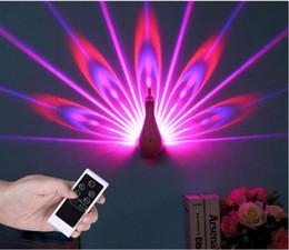 2019 mur mignon de noël Peacock wall Light Nouveau Coloré 3D Projection Night Lights Télécommande led spotlight Pépinière Décoratif Lumières De Noël Décoration YL40 promotion mur mignon de noël