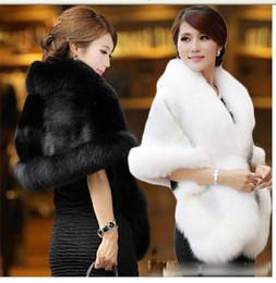 2019 weißes pelzkleid Eleganter hoher Ansatz-Faux-Pelz-Hochzeits-Verpackungs-weiße schwarze Brautschal-Achselzucken geben Verschiffen-Hochzeits-Zusatz-Qualität frei