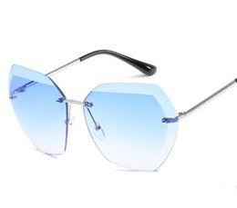 Wholesale Vintage Glass Frog - Fashion star style fashion sunglasses gradient women's rimless sunglasses vintage big Frame frog Sun glasses 8 Colors