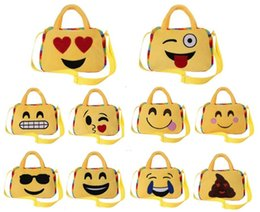 Wholesale Doll Face Bags - Cute Emoji Bags Cartoon Kids Bag Face Expression Kid Shoulder School Bag Kindergarten Plush Toy Xmas Gift Handbag Lovely Doll handbags