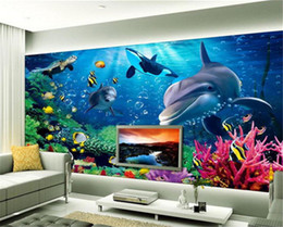 Wholesale Underwater Wall Decorations - 3D Wall Mural Underwater World Photo Wallpaper Interior Art Decoration Cute Dolphin Wallpaper Large wall Art Kid Bedroom TV background wall