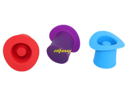 Wholesale Hat Beer - 100pcs lot Small Hat Silicone Wine Stopper Red Wine Champagne Plug Beer Bottle Cowboy cap Bottle stoppers Sealers