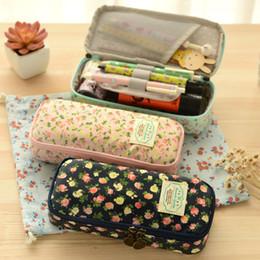 2019 sacos de cosmeticos de melancia Couro Kawaii Papelaria Lona Floral Lápis Caso Saco de Lápis de Grande Capacidade Material Escolar Bonito Caneta Bolsa De Armazenamento De Caixa