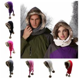 2019 ragazza setta del cappello di scialle Caldo cappello di pelliccia di coniglio sciarpa donne inverno cappello lanuginoso cappelli di pile polari scialli sciarpa neutra ragazze doppio tappo a sfera GGA1072 ragazza setta del cappello di scialle economici