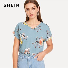 5e01a59a71ad 20187 SHEIN Roll Up Sleeve Floral Top Blue V Neck Short Sleeve Pullovers  Blouse Women Summer Elegant Casual Blouses
