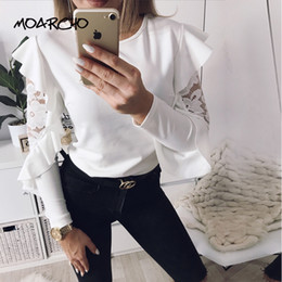 Wholesale Lace Butterfly Sleeve Top - Women Lace Spliced Solid Tops And Blouse Ladies Butterfly Long Sleeve O-neck Solid Shirts 2018 Spring Casual Office Work Blouses