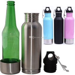 Wholesale glass flasks - New 12oz Stainless Steel Beer Bottle Cup Vacuum Insulation Cold Mugs Beer Bar Dining Hip Flasks Party Beer Glass With Bottle Opener WX9-262