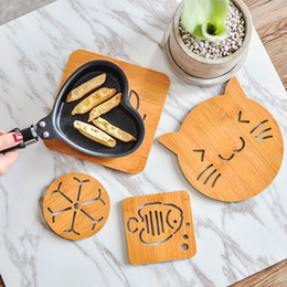 Wholesale Round Table Sizes - Dining Table Placemats Pot Tableware Wooden Cartoon Placemat Cup Coaster Heat Insulated Mats Pad Holder Table Home kitchen Tools BIG SIZE