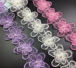 Wholesale Organza Lace Fabric Wholesale - 15Yard Flower Pearl Organza Lace Fabric Trim Ribbon For Apparel Sewing DIY Bridal wedding Doll Cap Hair clip