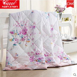 Wholesale Crib Comforter Cover - Top Ice Silk Summer Quilted Comforter King Size Summer Quilts Bed Set Thin Quilt Patterns Blanket Cover Free Shipping