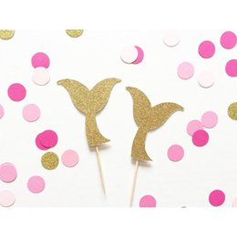 mermaid birthday cake NZ - Mermaid Tail Glitter Cupcake Toppers decorations for Under the Sea wedding party Bridal shower Baby Shower Birthday toothpicks