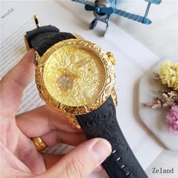 reloj de goma china Rebajas Venta caliente de gran tamaño del estilo del dragón chino Calidad invicta correa de caucho Relojes para hombres relojes de pulsera de cuarzo relogios para hombres relojes mejor regalo