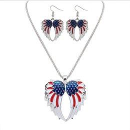 Wholesale Girls Enamel Earrings - Blue Red Enamel the U.S. Flag Wings of Angel Pendant Dangle Necklace Hook Earrings Sets Wholesale fit Garment Suit for Female Lady Girls