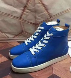 Wholesale High Street Fashion Shoes - Wholesale High Quality Men High Sneakers Red Bottom Shoes,France Famous Street Skate Lace-up Shoes Genuine Leather Fashion Shoes
