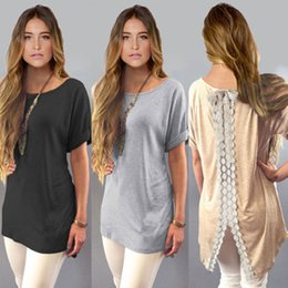 Wholesale woman white plain shirt - Summer Ladies Womens Casual Shirt Plain Simple Design Short Sleeve Lace Back Loose T-Shirt Tees Slim Tops Plus Size
