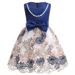 2018 summer Flower Girl Dresses Vintage Jewel Sash Lace Net Baby Girl  Birthday Party Christmas Communion Dresses Children Girl Party Dresses 8e8ebf364f7e