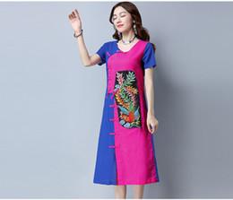 Wholesale Phoenix Clothing - national wind restoring ancient ways temperament contrast color phoenix embroidery cotton dress Ethnic Clothing