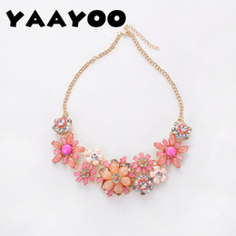 Wholesale Pink Flower Choker - whole saleYAAYOO Season Women Cut Romantic Colorful Resin Large Flowers Black Pink Green Rose Chokers Necklaces For Gift Party Girl NL142