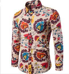 Camicie da uomo 14 colori Uomo stampato camicia a contrasto casuale Camicie button down Fashion Top Big Size XXXXXL H-018 da