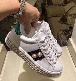 Wholesale Ace Boxes - Women Ace Embroidered Sneakers With Crystals Genuine Leather Pearl Flats Shoes Platform Creepers 16 Colors Casual Sport Shoes Original Box