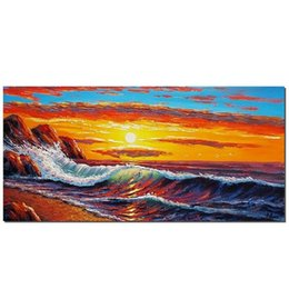 Moderna pittura a olio di tramonto online-Sunset Scenery Seascape Enorme HandPainted / HD Stampa Modern Wall Art Home Decor Pittura a olio su tela. Multipli formati / struttura Opzioni Ss059