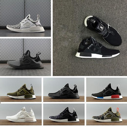 Wholesale Shoes Skulls - Fashion NMD XR1 Running Shoes Mastermind Japan Skull Olive green Camo Glitch Black White Blue zebra Pack men women sports shoes