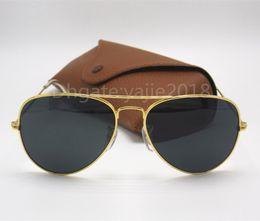 Wholesale Eye Glass Cases For Men - New Arrival Designer Pilot Sunglasses For Men Women Outdoorsman Sun Glasses Eyewear Gold Brown 58mm Glass Lenses With Better Case