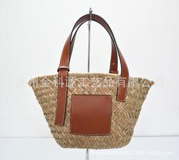 2019 bolsa de ratán de moda Mitsubishi Grass Mujeres Messenger Bags Proceso Proceso de tejer Bolsa de paja Nueva Moda Hoja de Palma Hombro Mujeres Rattan Bolsa Luo Yiwei a5319 rebajas bolsa de ratán de moda