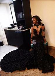 Vestidos negros africanos del baile de fin de curso 2017 apliques de la sirena de las mangas largas vestidos de noche del partido árabe atractivo de la marina de guerra paolo sebastian vestido desde fabricantes