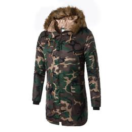 giacche invernali in camo mens Sconti Winter Mens Long Camo Giacche Extended Parka caldo maschile foderato in cotone Longline Camouflage Plus Size