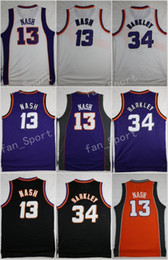 Wholesale Discounted Hockey Jerseys - Discount Throwback Basketball Jerseys 34 Charles Barkley 13 Steve Nash Retro Purple White Black Stitched Shirts With Player Name