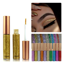 Wholesale Gold Eye Pencil - Makeup Color Pencils Eye Liners Makeup Natural Waterproof Shimmer Gold Silver Make Up Liquid Shining Glitter Liquid Eyeliner
