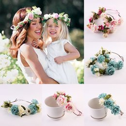 Wholesale Boho Hair Accessories - 2pcs set Mom Daughter Matching Headbands Artificial Flowers Girls Floral garlands Boho Hair Accessories Women Girl Wedding Beach wreathC3965